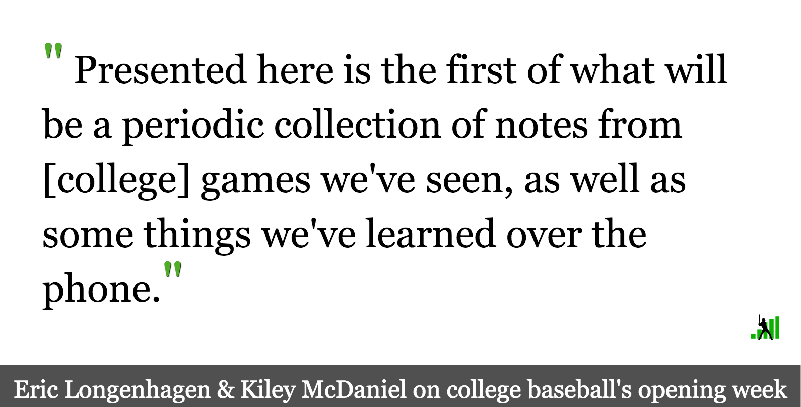 Our Week 1 College Scouting Notes | FanGraphs Baseball