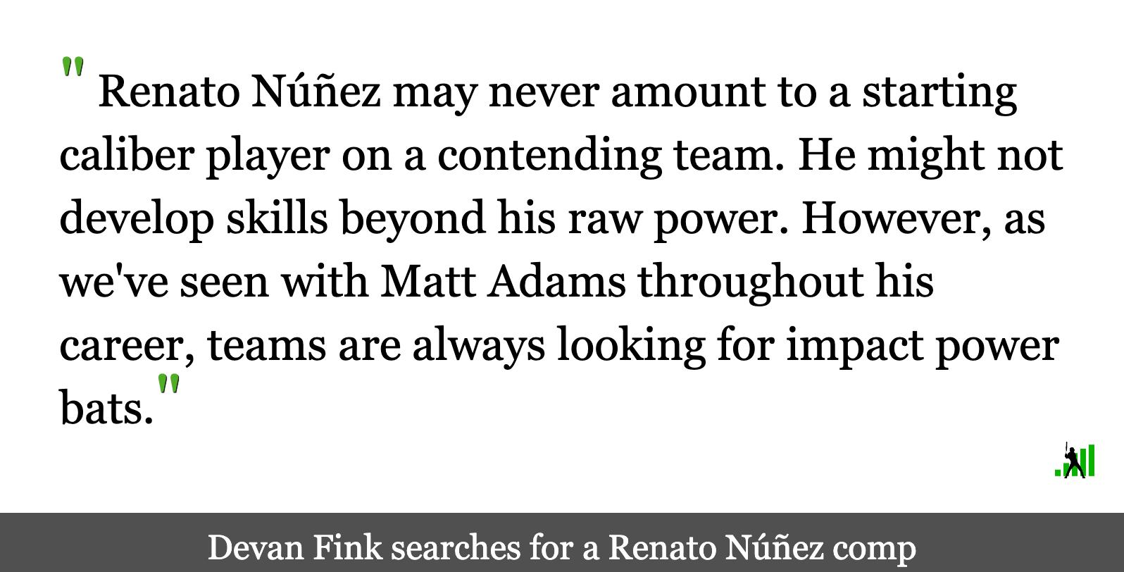 Finding a Beltway Baseball Comp for Renato Núñez