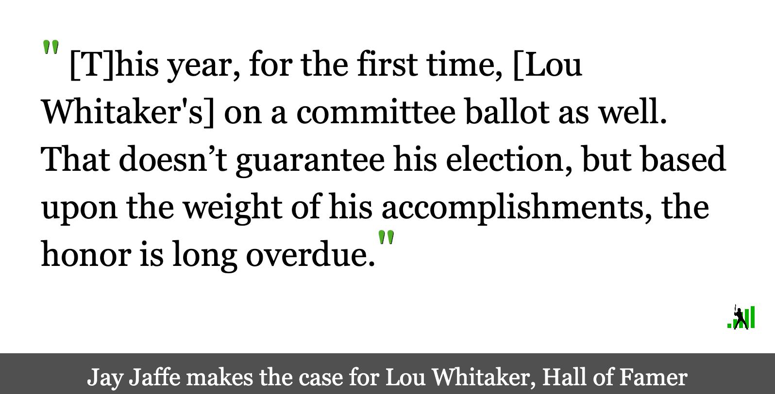 Lou Whitaker Belongs in Cooperstown