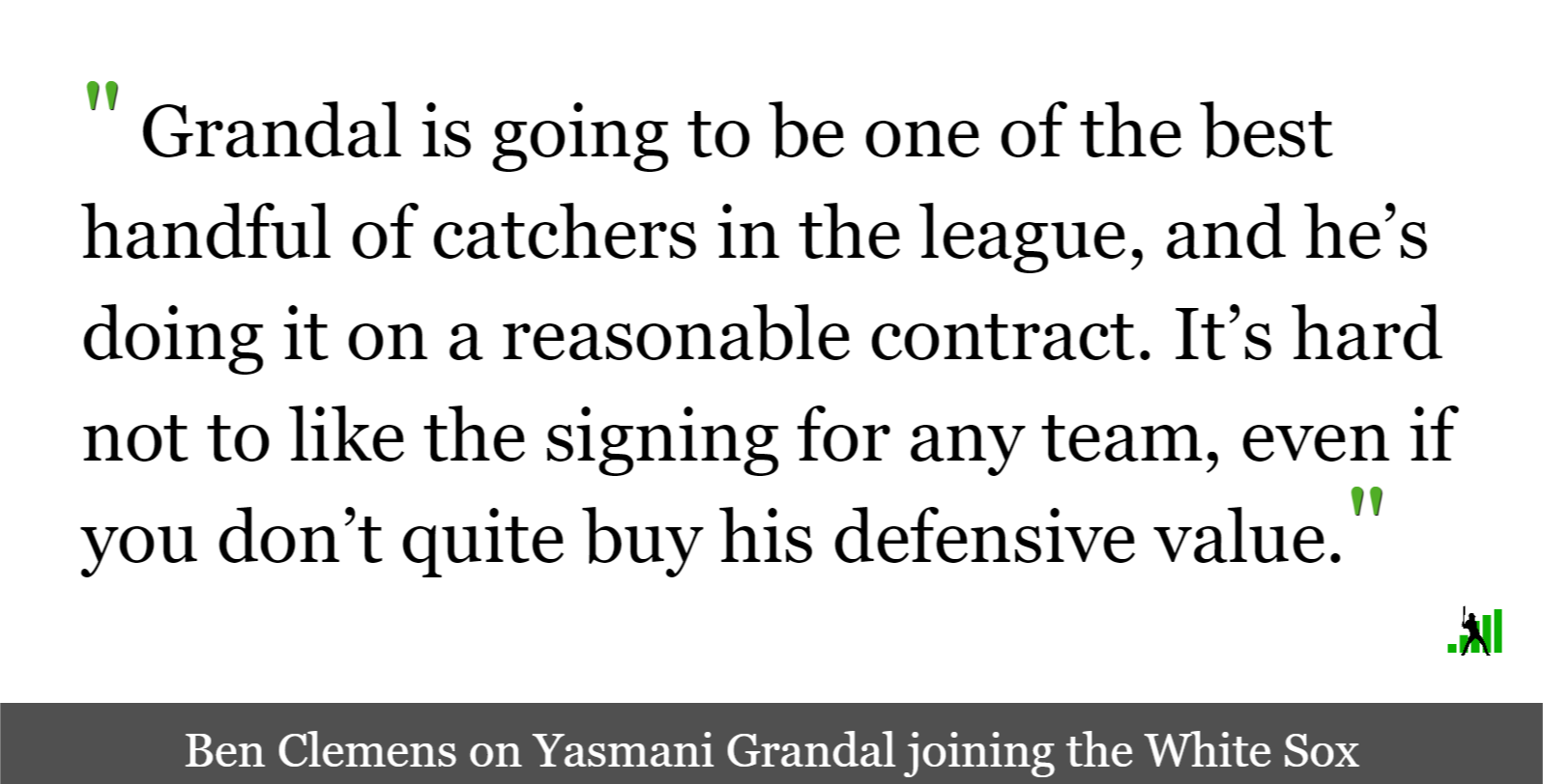 Yasmani Grandal Signals a New Strategy for the White Sox