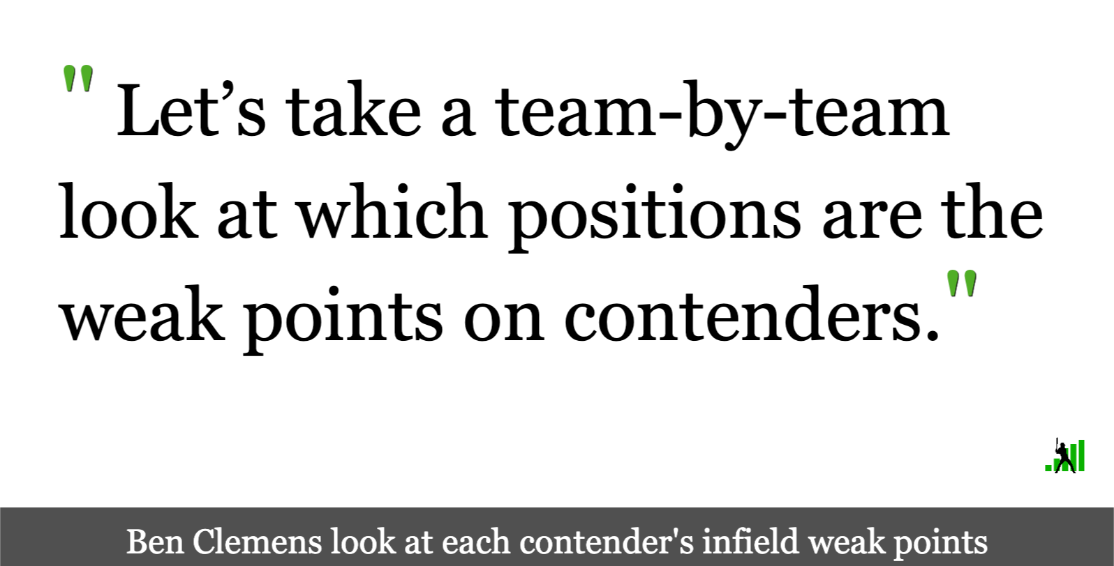 The Biggest Holes on Contending Teams, Part One: The Infield