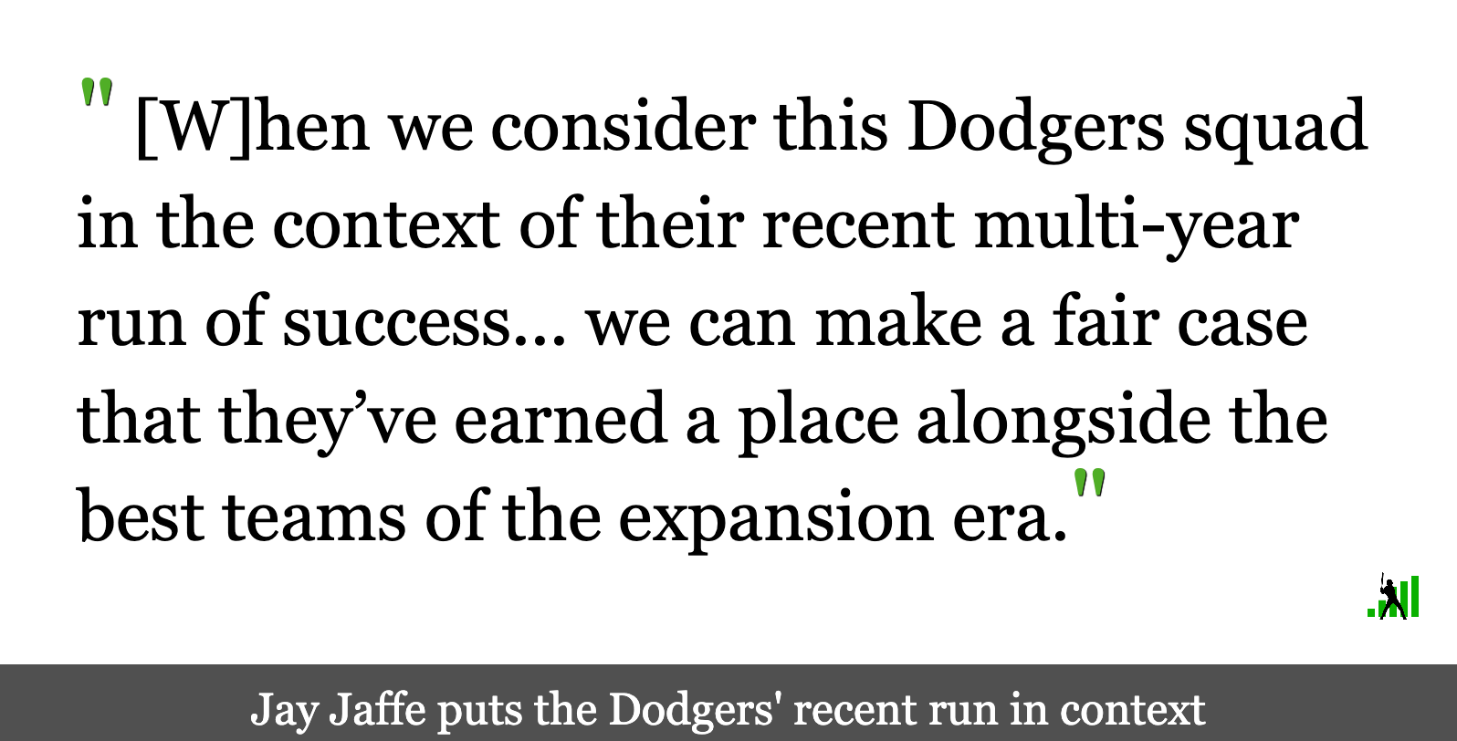 Making the Case for the 2020 Dodgers' Place in History